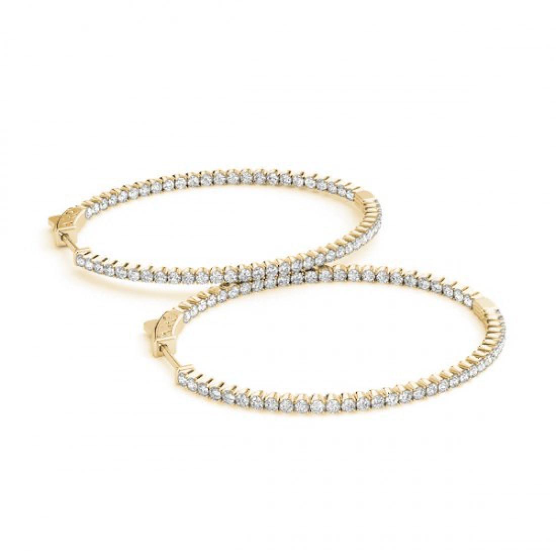 3 CTW Diamond VS/SI Certified 36 Mm Hoop Earrings 14K