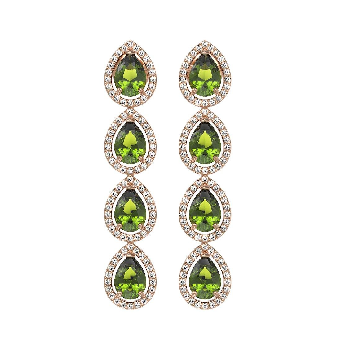 7.88 CTW Tourmaline & Diamond Halo Earrings 10K Rose