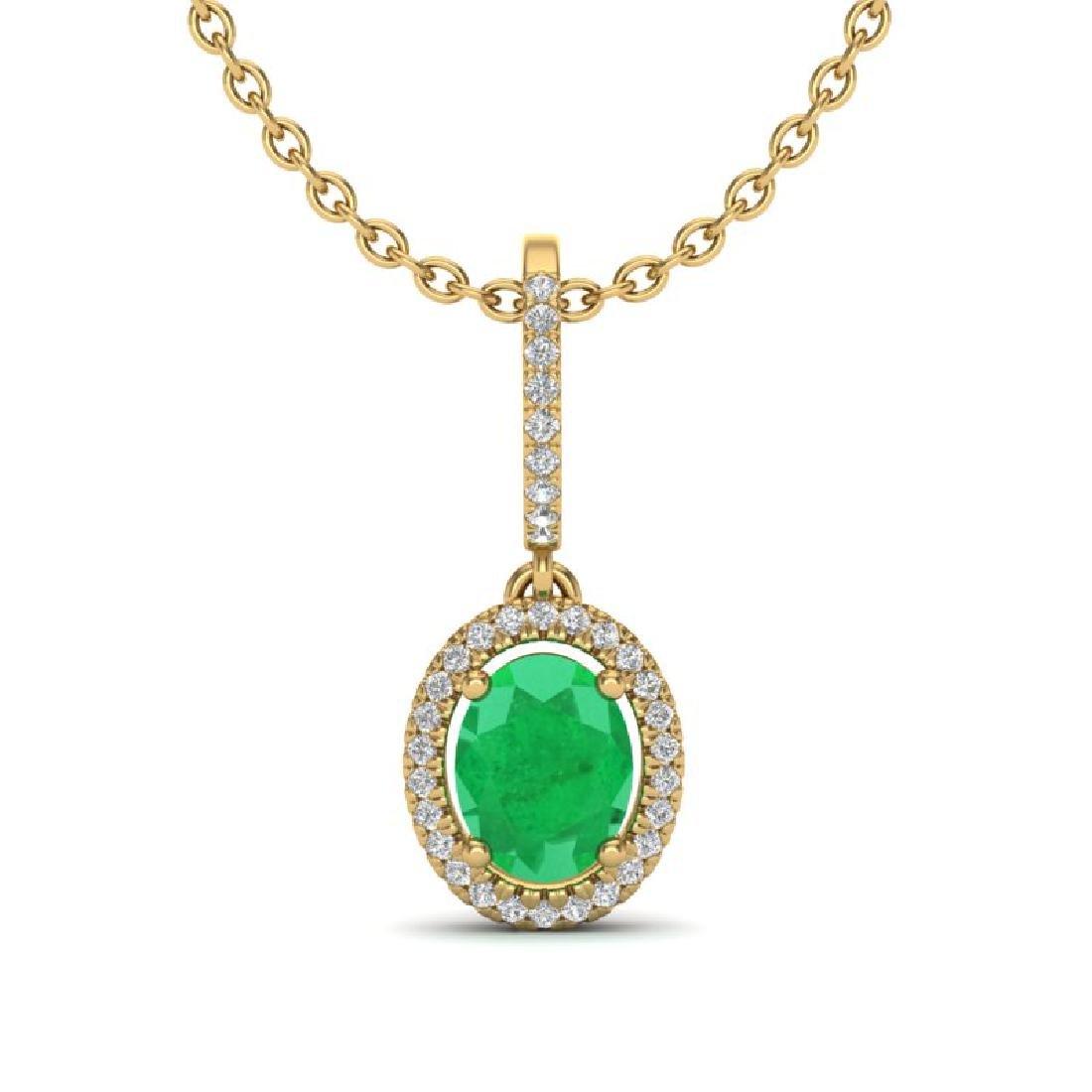 2 CTW Emerald & Micro Pave VS/SI Diamond Necklace