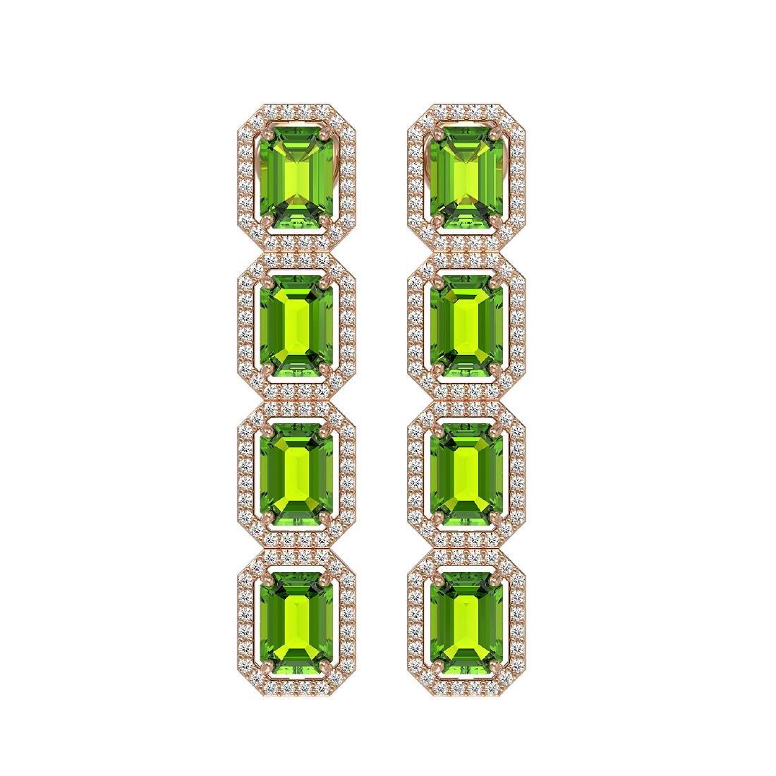 11.98 CTW Peridot & Diamond Halo Earrings 10K Rose Gold