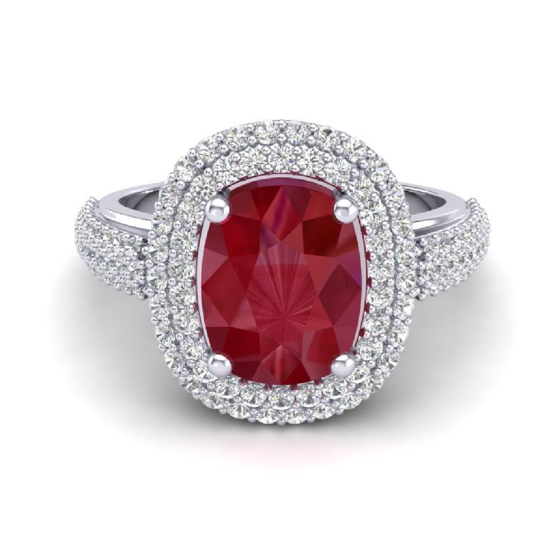 3.50 CTW Ruby & Micro Pave VS/SI Diamond Halo Ring 18K