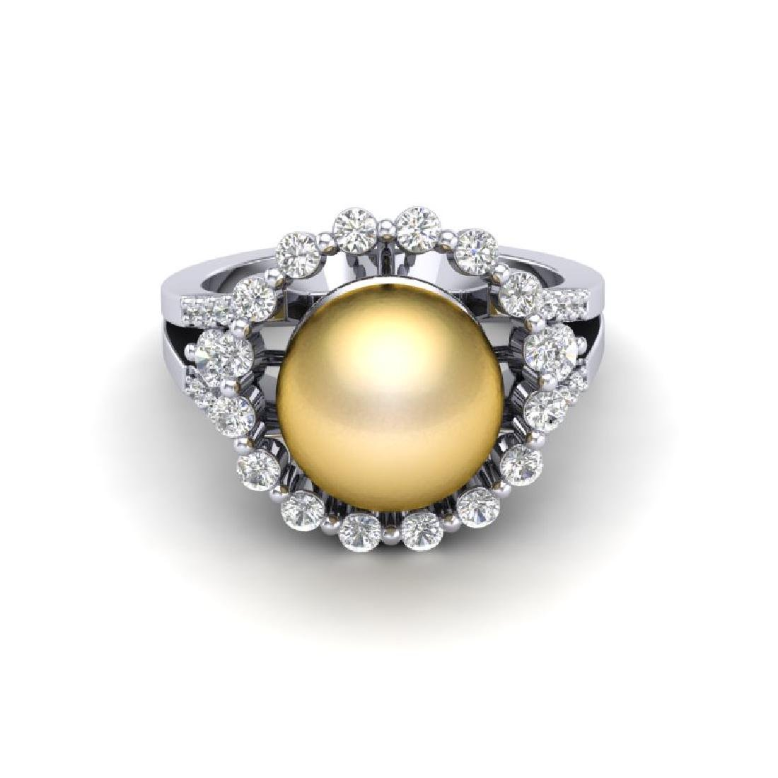 0.83 Ct Micro Pave VS/SI Diamond & Golden Pearl Halo