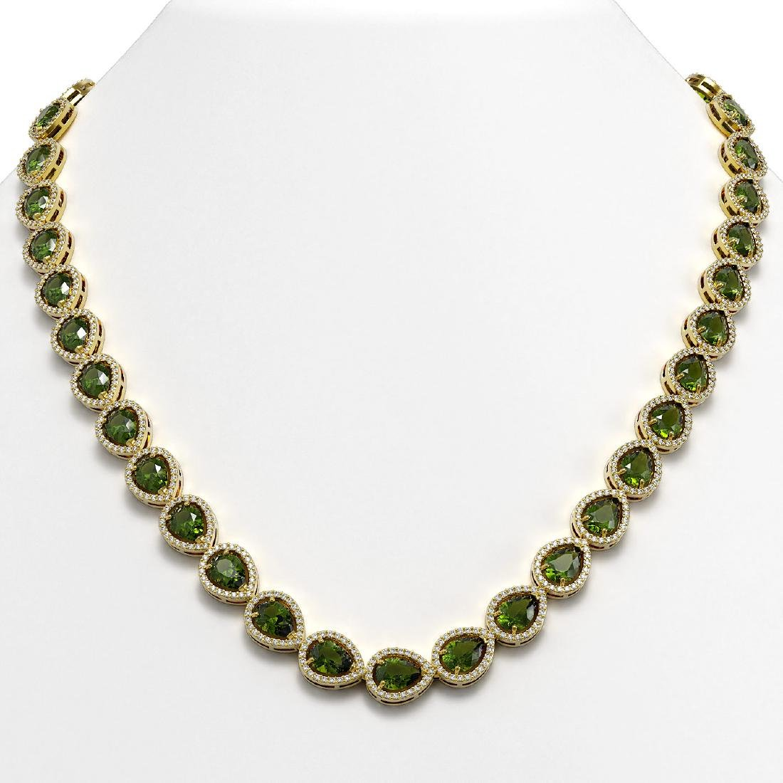 35.13 CTW Tourmaline & Diamond Halo Necklace 10K Yellow