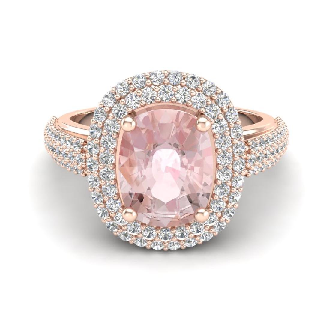3.25 CTW Morganite & Micro Pave VS/SI Diamond Halo Ring