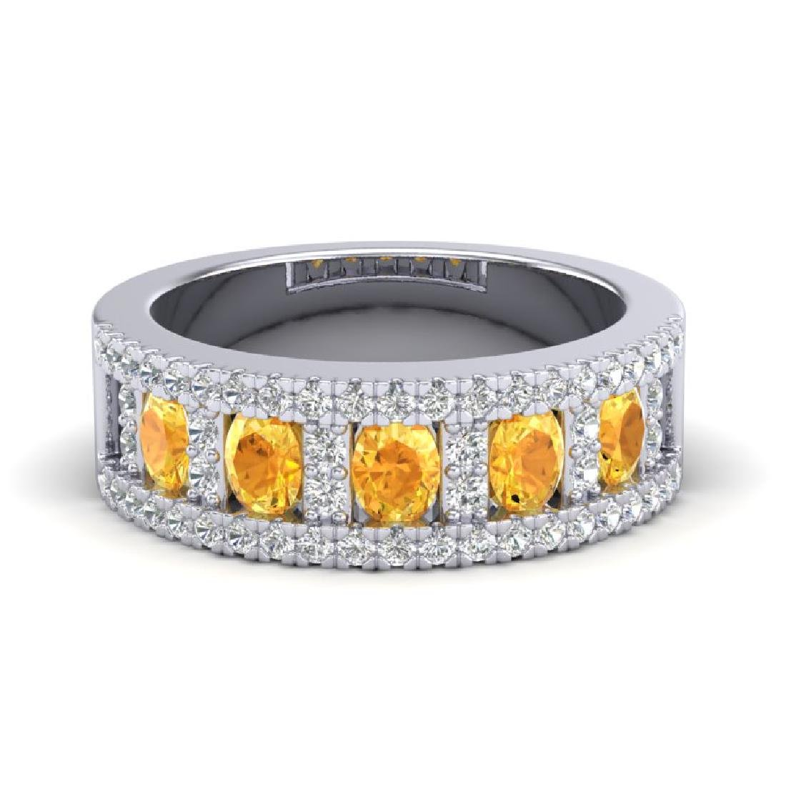 2 CTW Citrine & Micro VS/SI Diamond Inspired B& Ring