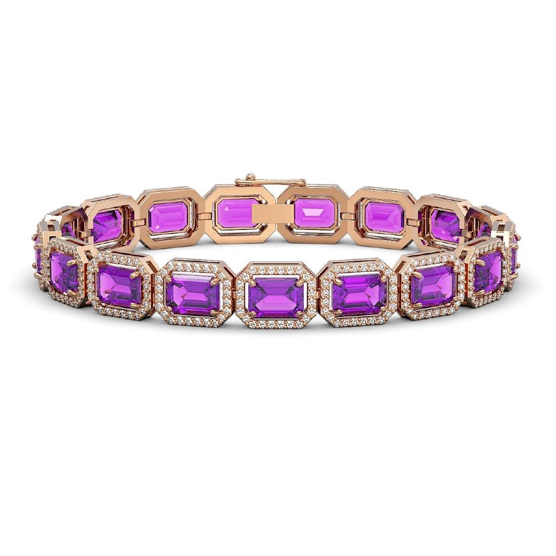 22.81 CTW Amethyst & Diamond Halo Bracelet 10K Rose