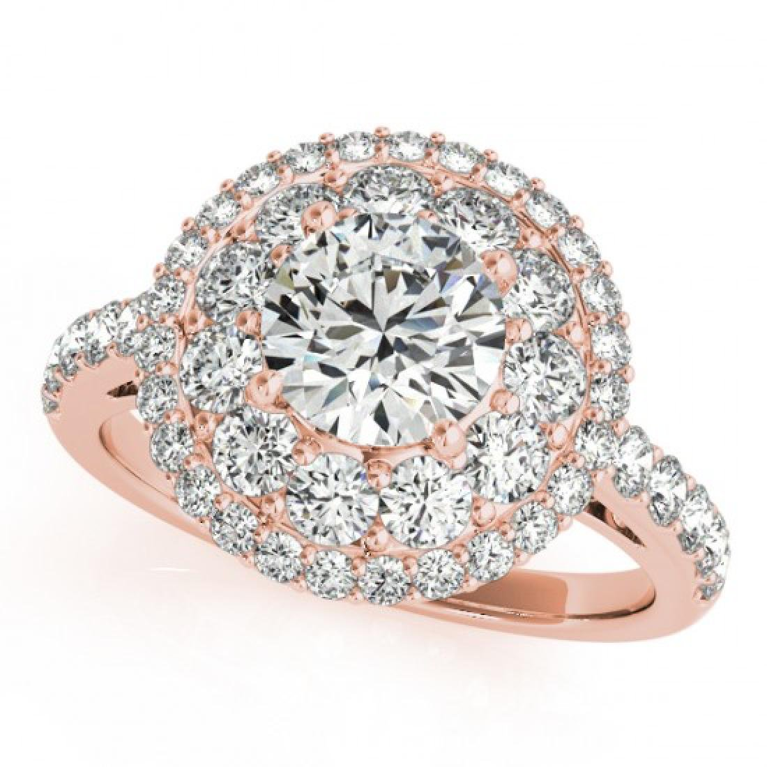 2.09 CTW Certified VS/SI Diamond Solitaire Halo Ring