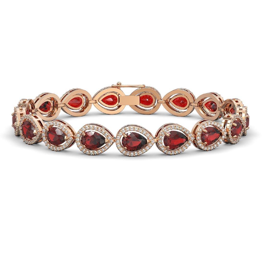 17.44 CTW Garnet & Diamond Halo Bracelet 10K Rose Gold