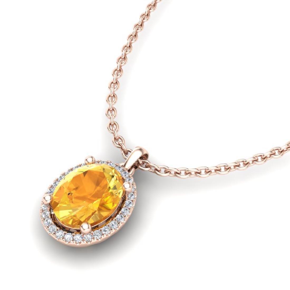 2.50 CTW Citrine & Micro Pave VS/SI Diamond Necklace