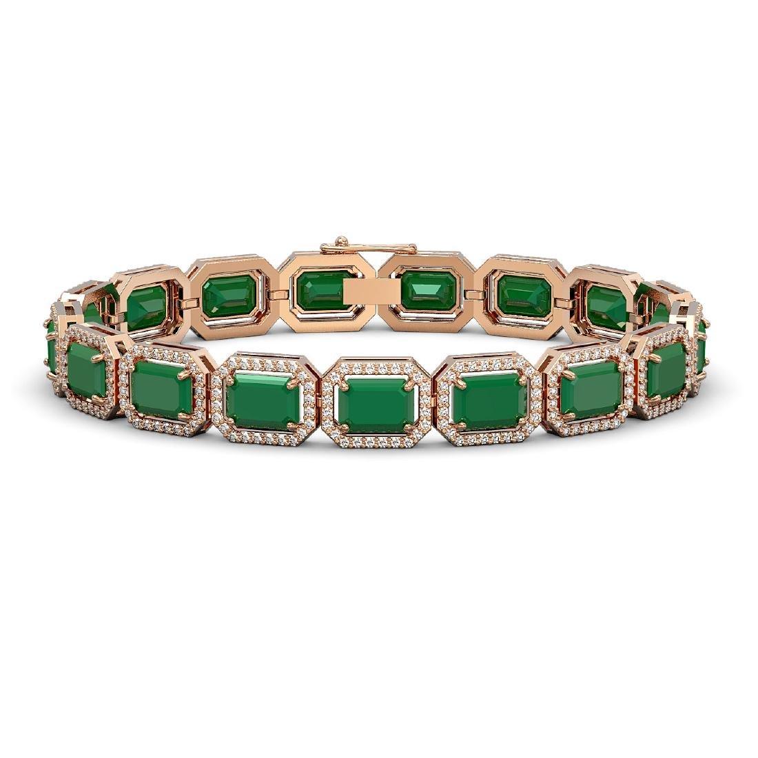 26.21 CTW Emerald & Diamond Halo Bracelet 10K Rose Gold