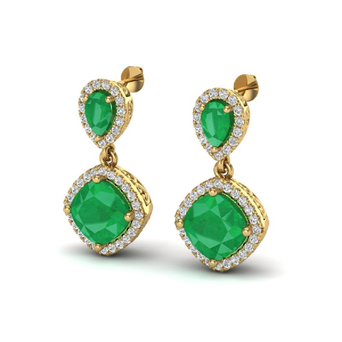 7 CTW Emerald & Micro Pave VS/SI Diamond Earrings
