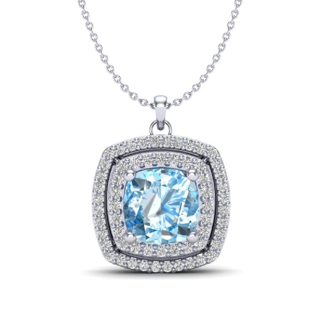2.08 CTW Sky Blue Topaz & Micro Pave VS/SI Diamond Halo