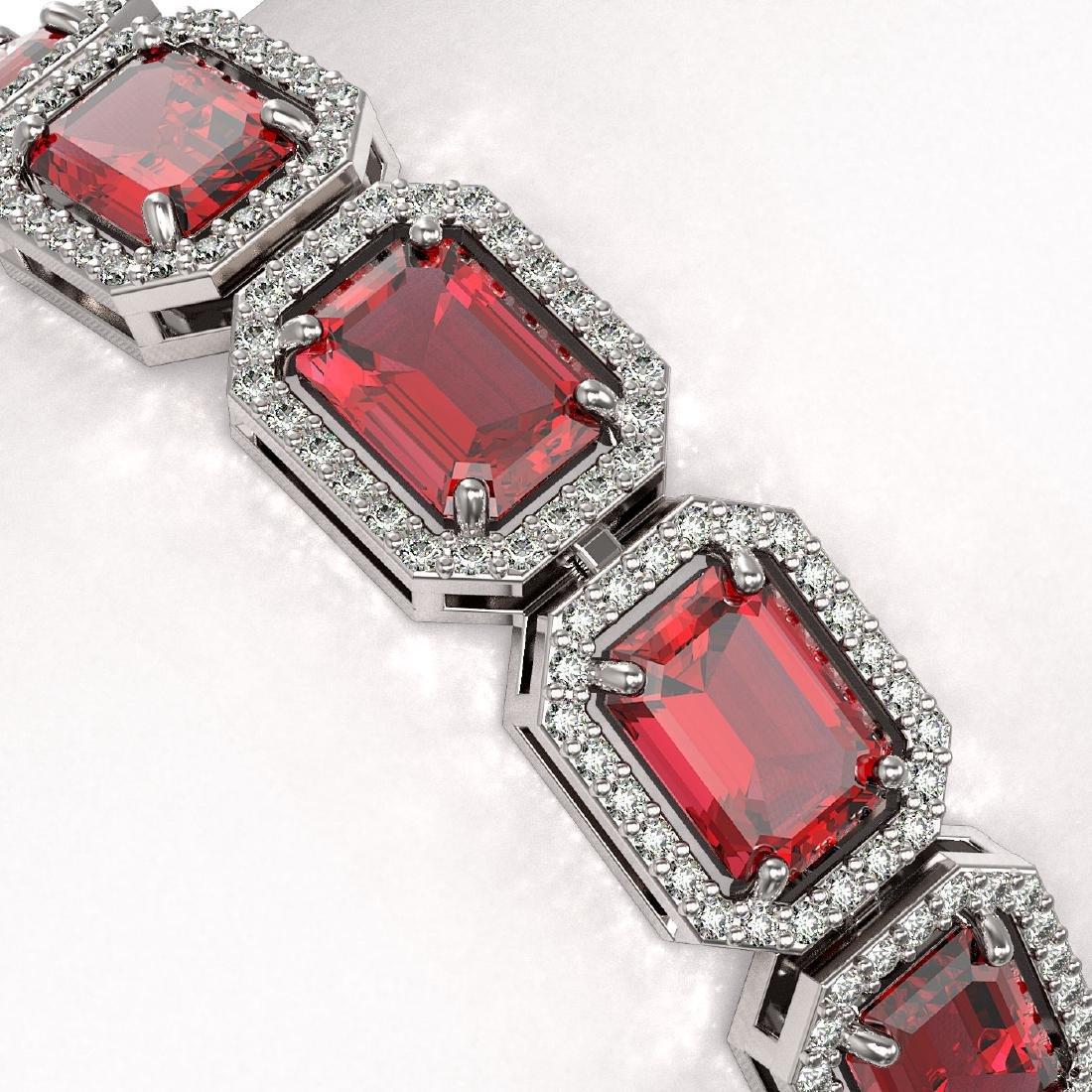 26.38 CTW Tourmaline & Diamond Halo Bracelet 10K White - 3