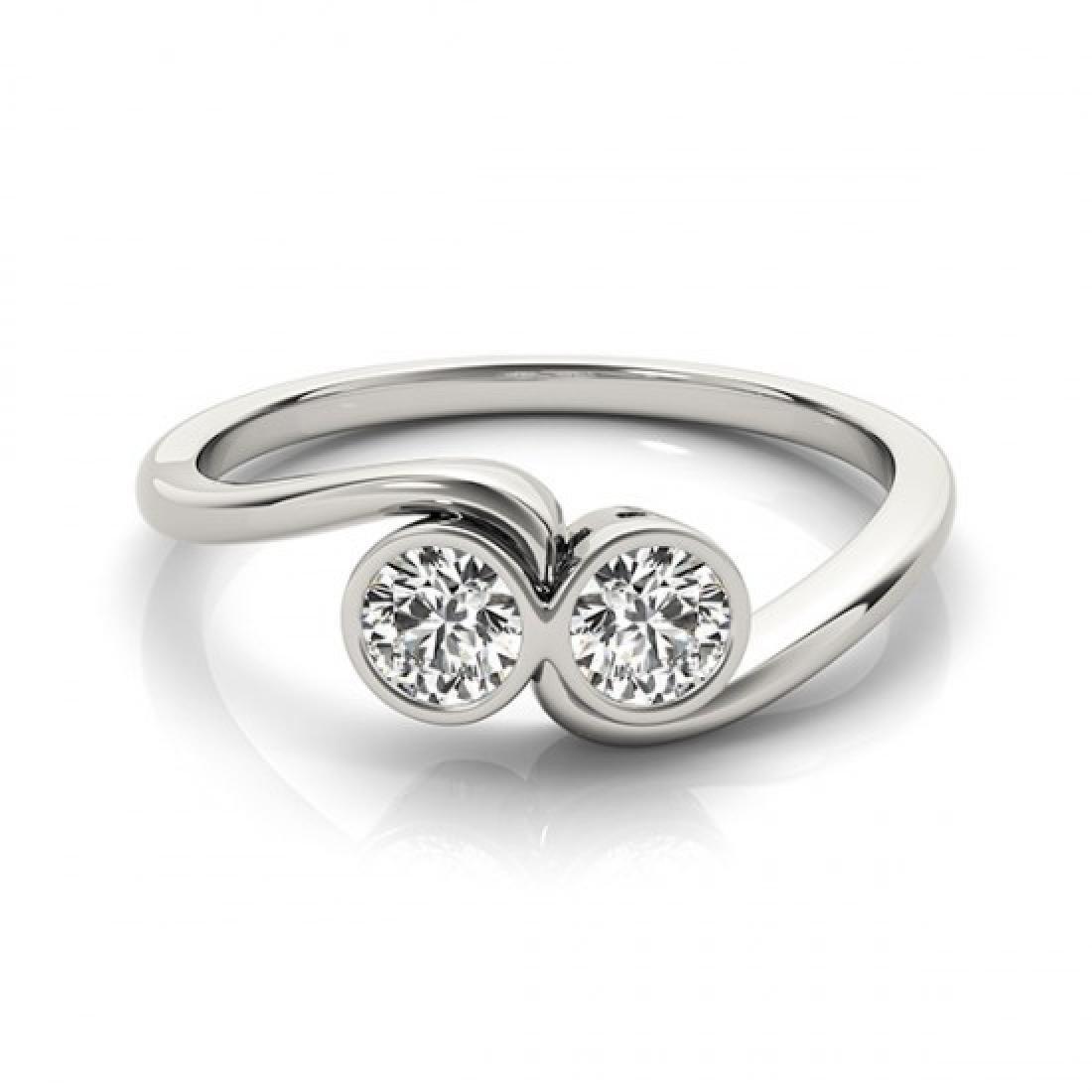 0.5 CTW Certified VS/SI Diamond 2 Stone Ring 14K White