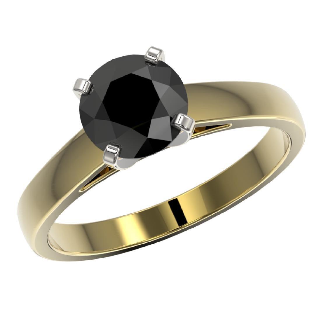 1.50 CTW Fancy Black VS Diamond Solitaire Engagement - 2