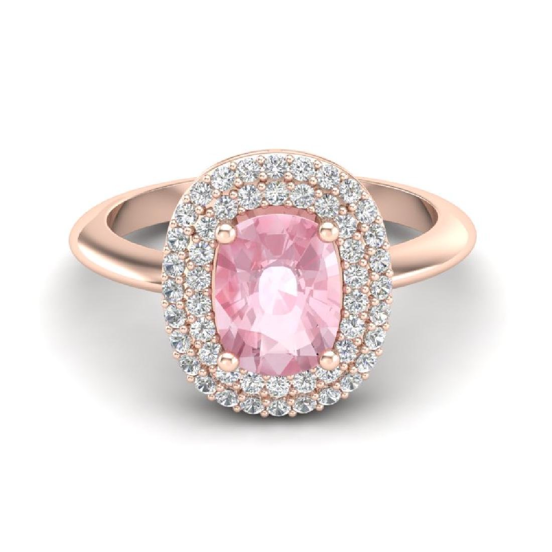 2.50 CTW Morganite & Micro Black VS/SI Diamond Ring