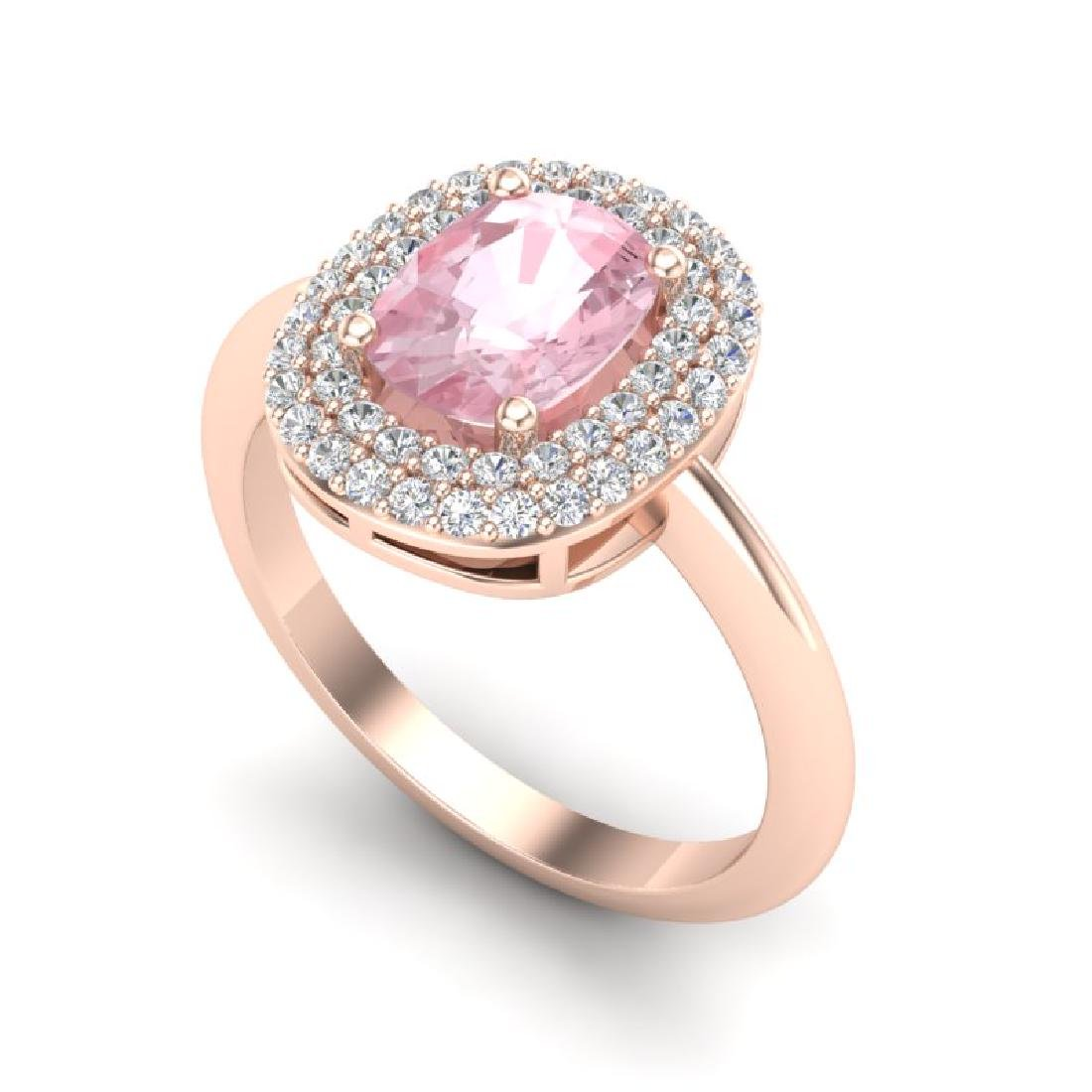 2.50 CTW Morganite & Micro Black VS/SI Diamond Ring - 2