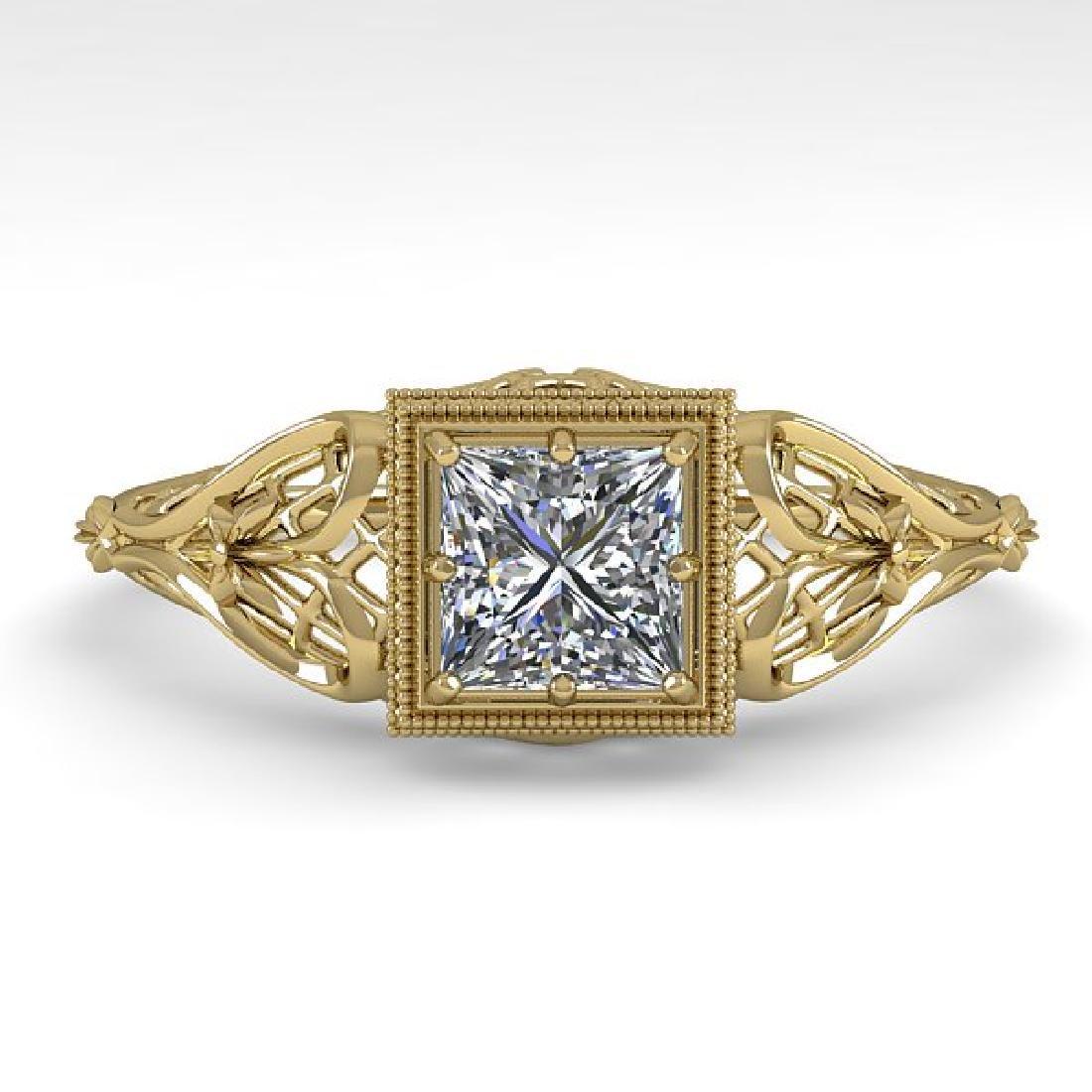0.50 CTW VS/SI Princess Diamond Solitaire Ring Art Deco