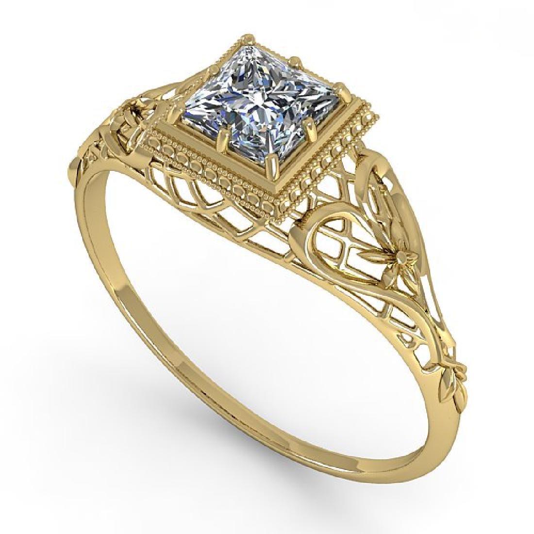 0.50 CTW VS/SI Princess Diamond Solitaire Ring Art Deco - 2
