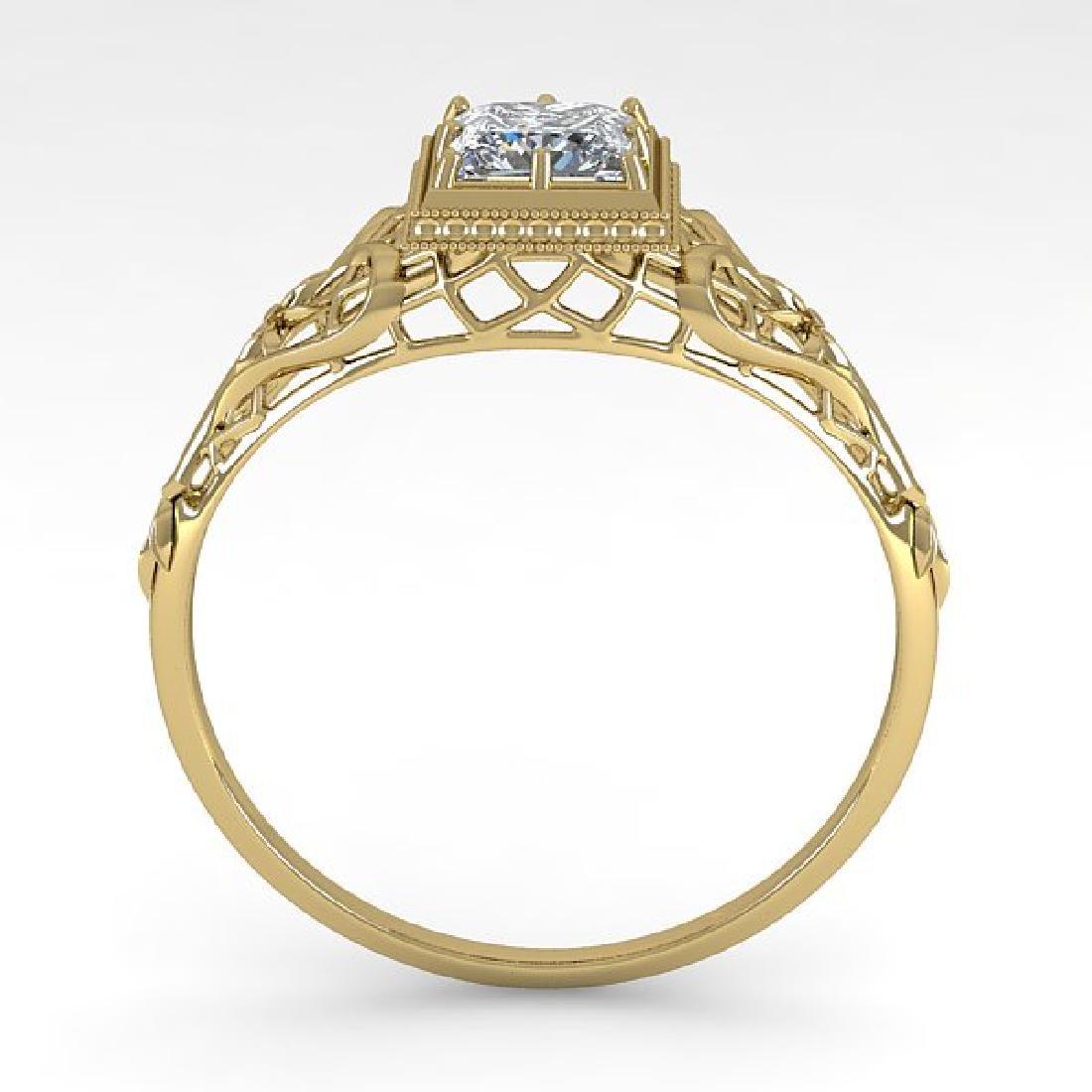 0.50 CTW VS/SI Princess Diamond Solitaire Ring Art Deco - 3