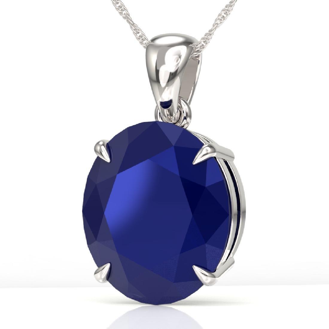 9 CTW Sapphire Designer Solitaire Necklace 18K White