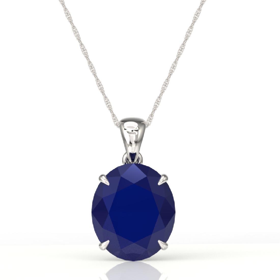 9 CTW Sapphire Designer Solitaire Necklace 18K White - 2
