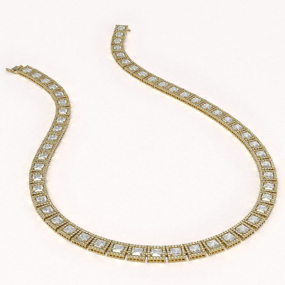 36.30 CTW Princess Diamond Designer Necklace 18K Yellow - 2