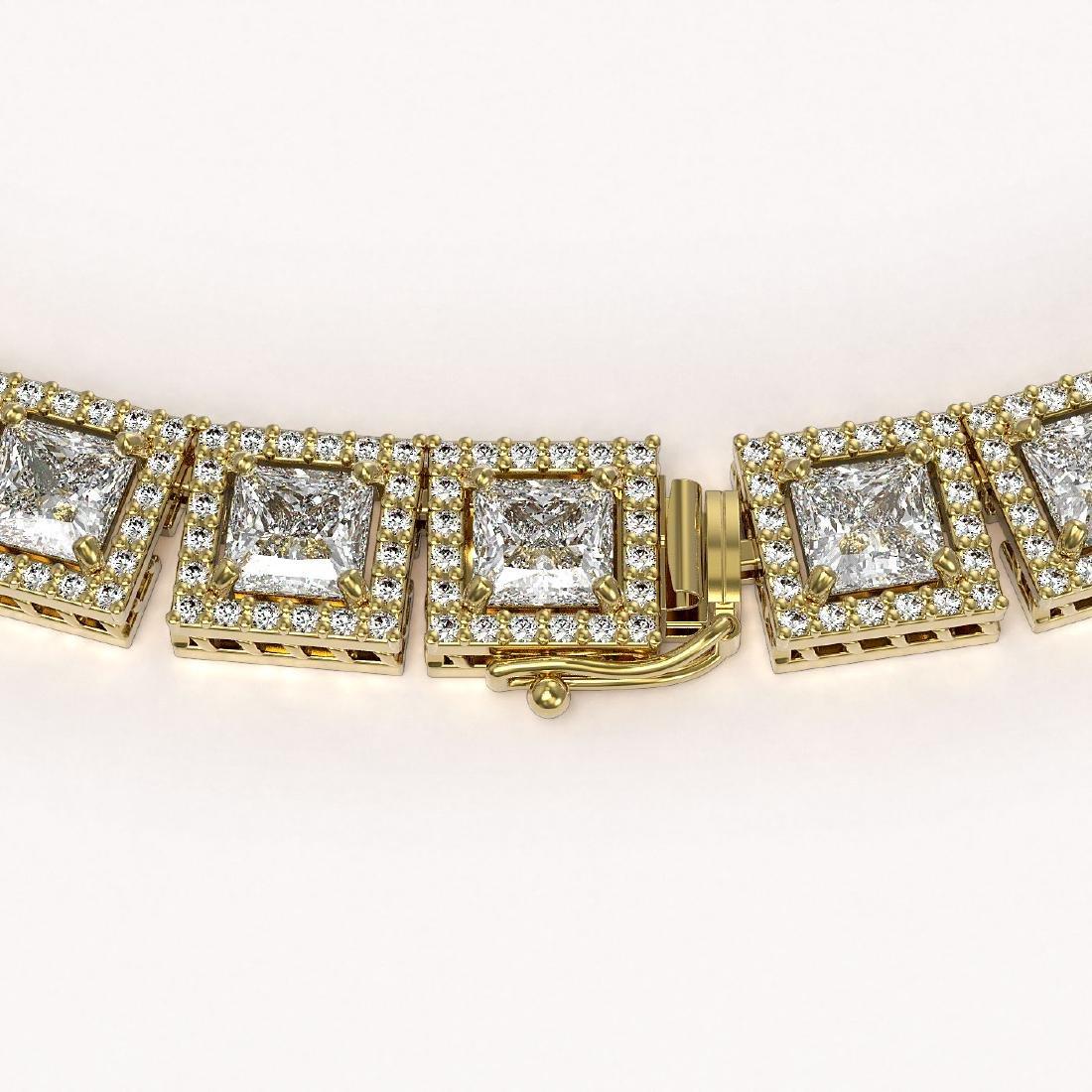 36.30 CTW Princess Diamond Designer Necklace 18K Yellow - 3