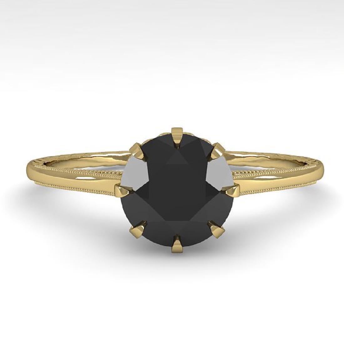 1.0 CTW Black Diamond Solitaire Ring Vintage 14K Yellow