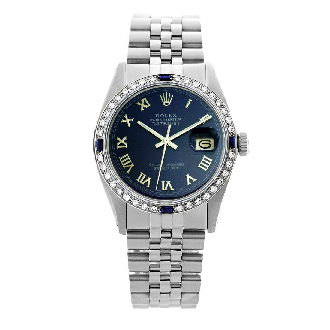 Rolex Men's Stainless Steel, QuickSet, Roman Dial with - 2
