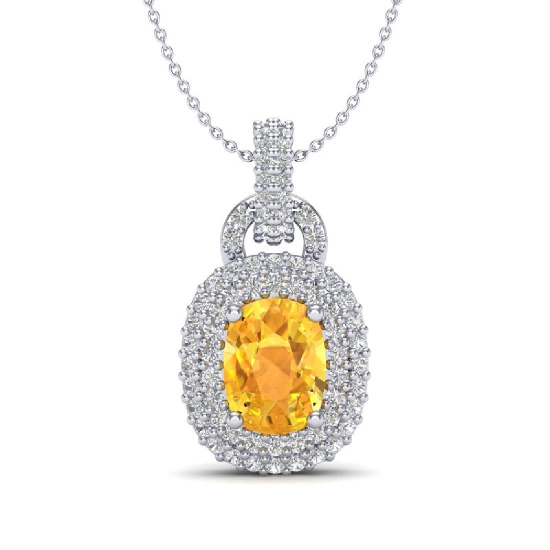 2.50 CTW Citrine And Micro VS/SI Diamond Necklace Halo