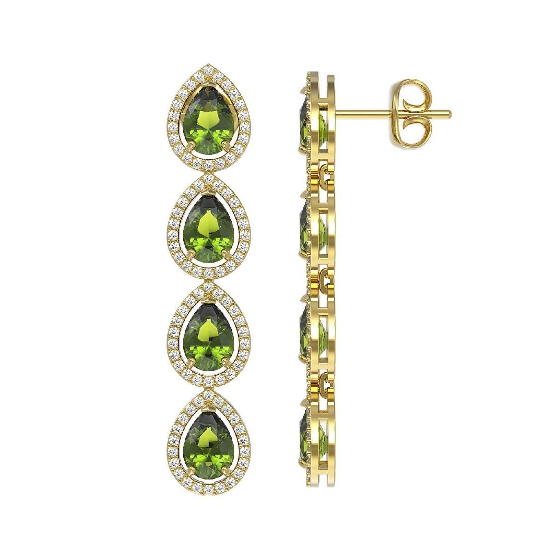 7.88 CTW Tourmaline & Diamond Halo Earrings 10K Yellow - 2