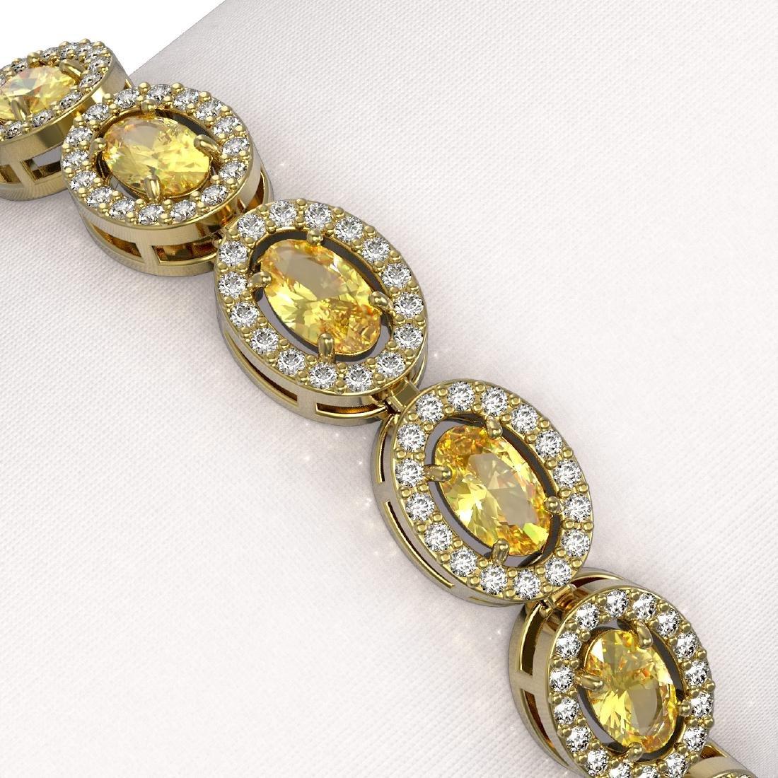 10.07 CTW Fancy Citrine & Diamond Halo Bracelet 10K - 3