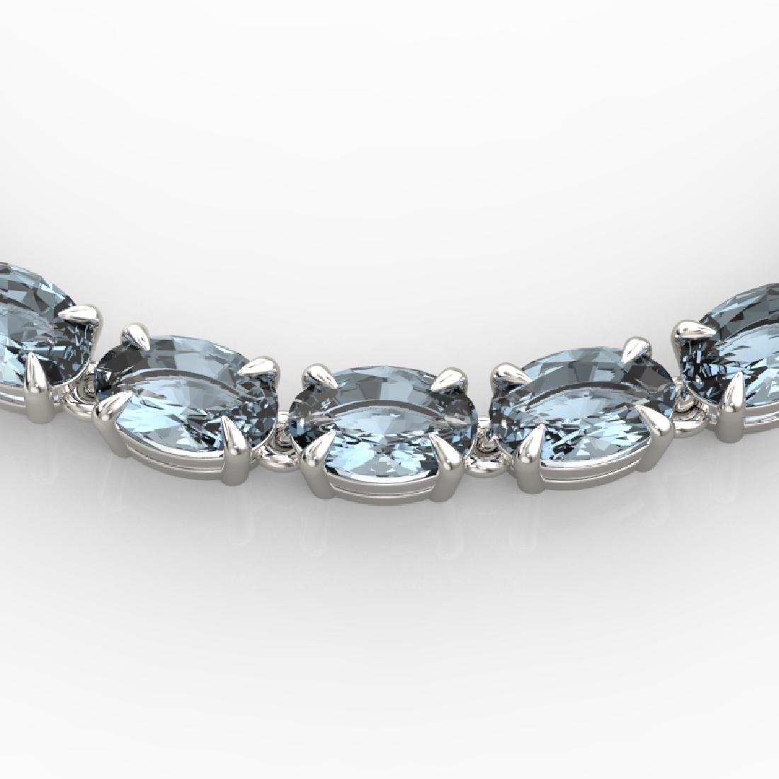 29 CTW Aquamarine Eternity Tennis Necklace 14K White