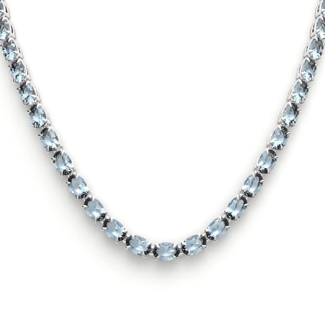 29 CTW Aquamarine Eternity Tennis Necklace 14K White - 2