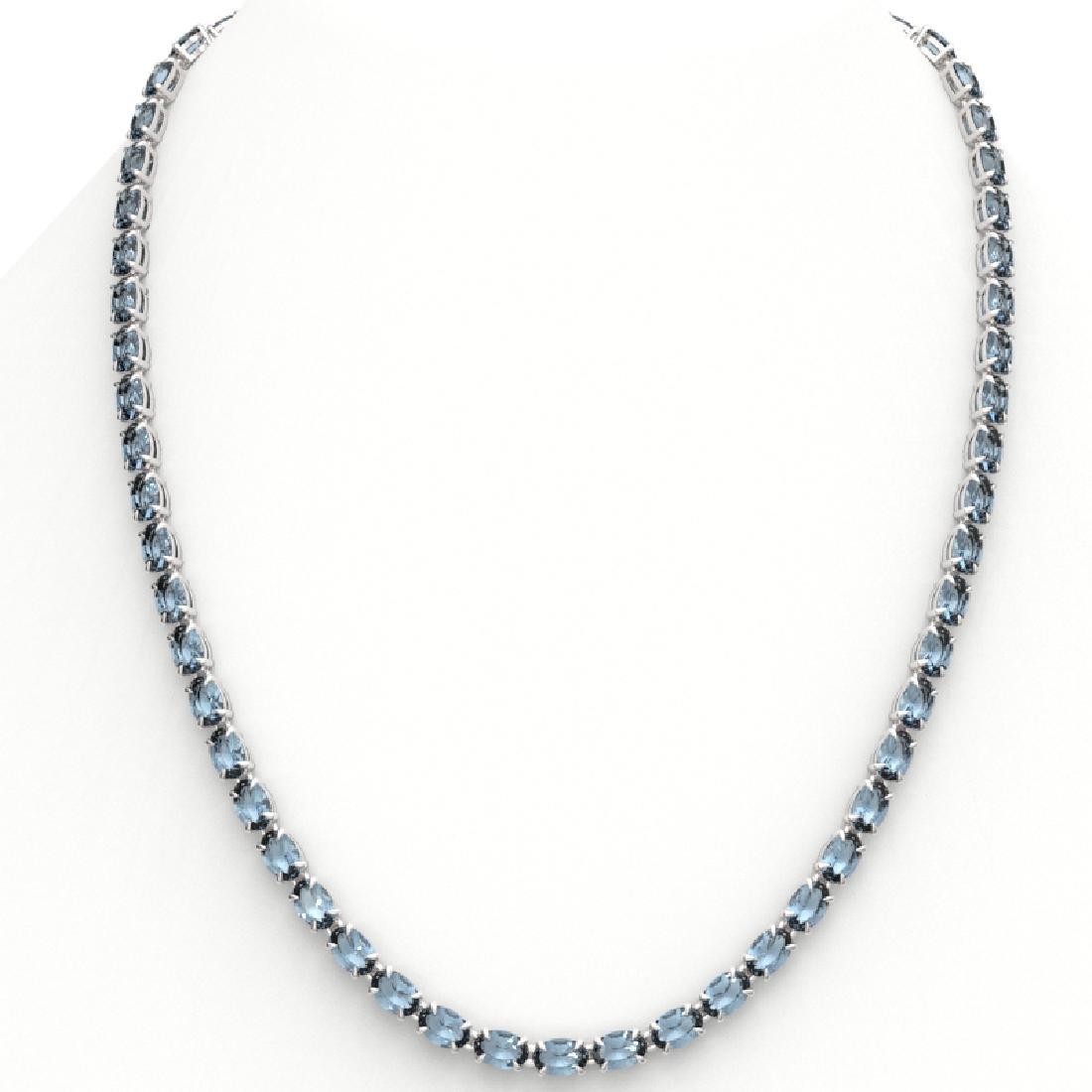 29 CTW Aquamarine Eternity Tennis Necklace 14K White - 3