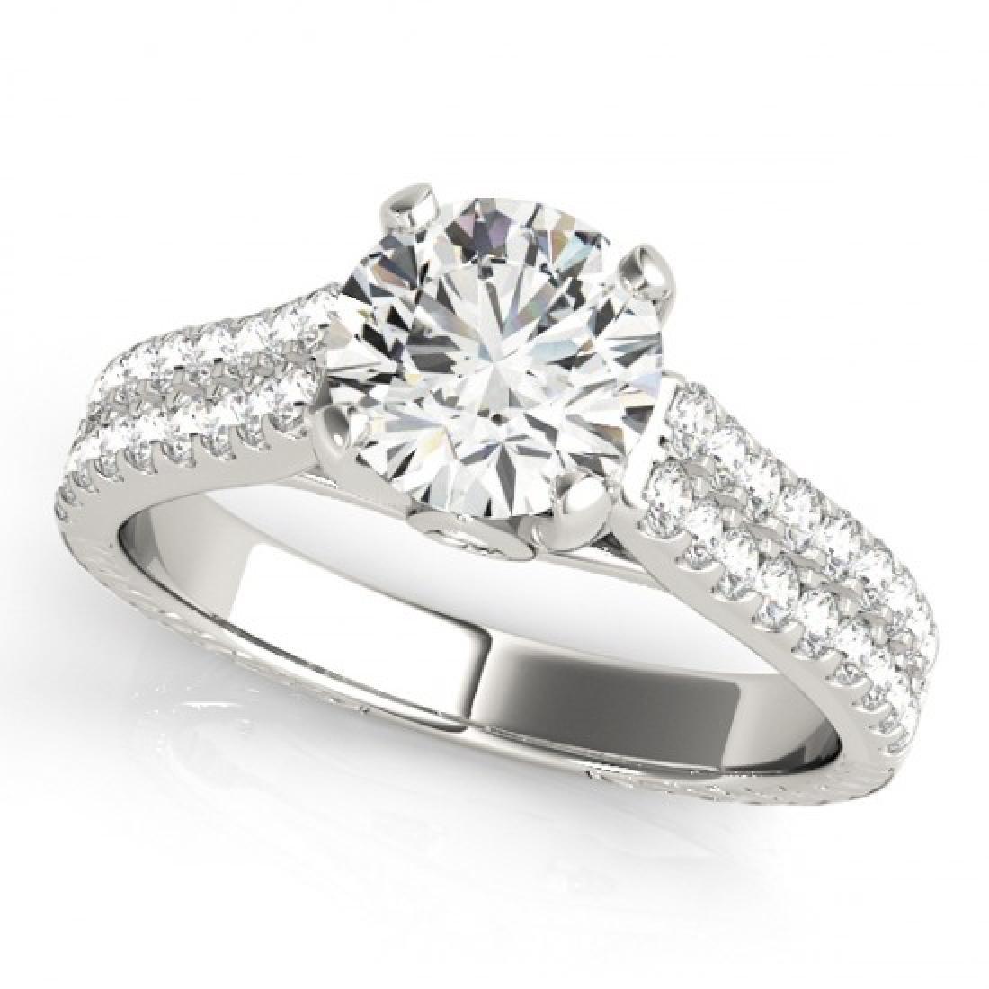 1.61 CTW Certified VS/SI Diamond Pave Ring 14K White - 2