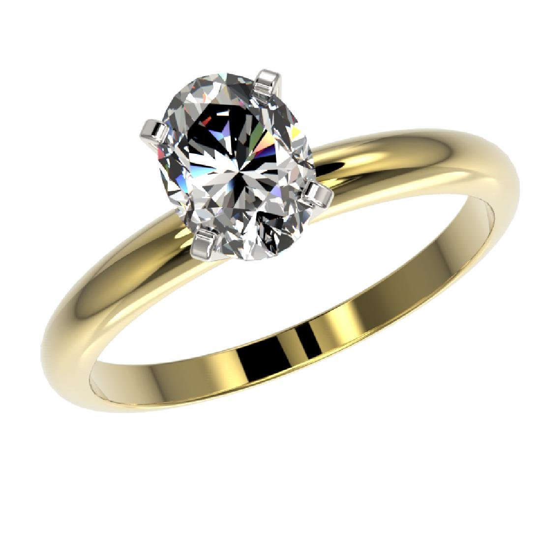 1.25 CTW Certified VS/SI Quality Oval Diamond Solitaire - 2