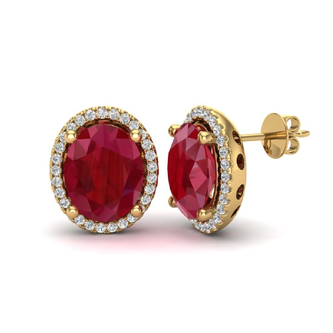 6 CTW Ruby & Micro Pave VS/SI Diamond Earrings Halo 18K - 2