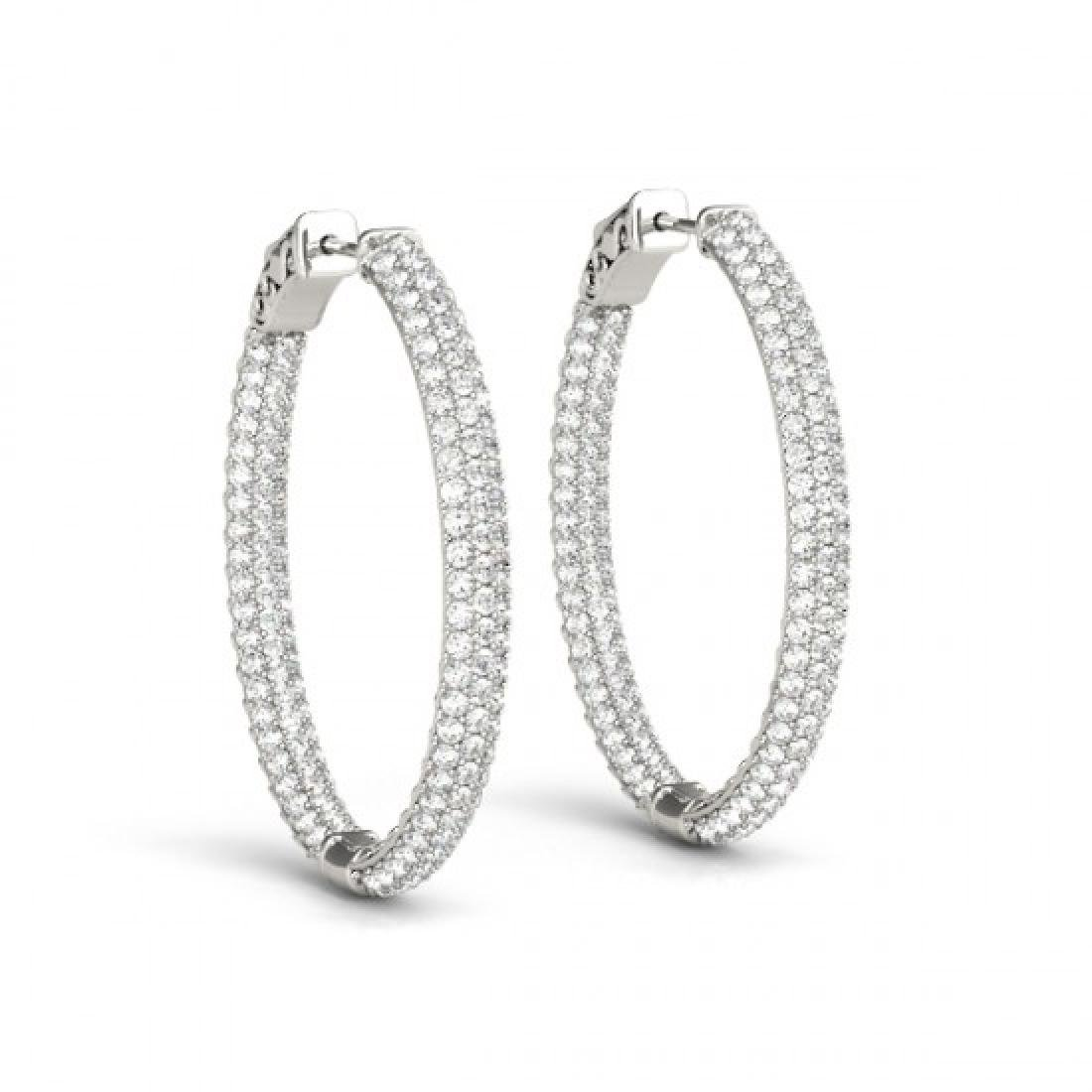 5 CTW Diamond VS/SI Certified 40 Mm Hoop Earrings 14K - 2