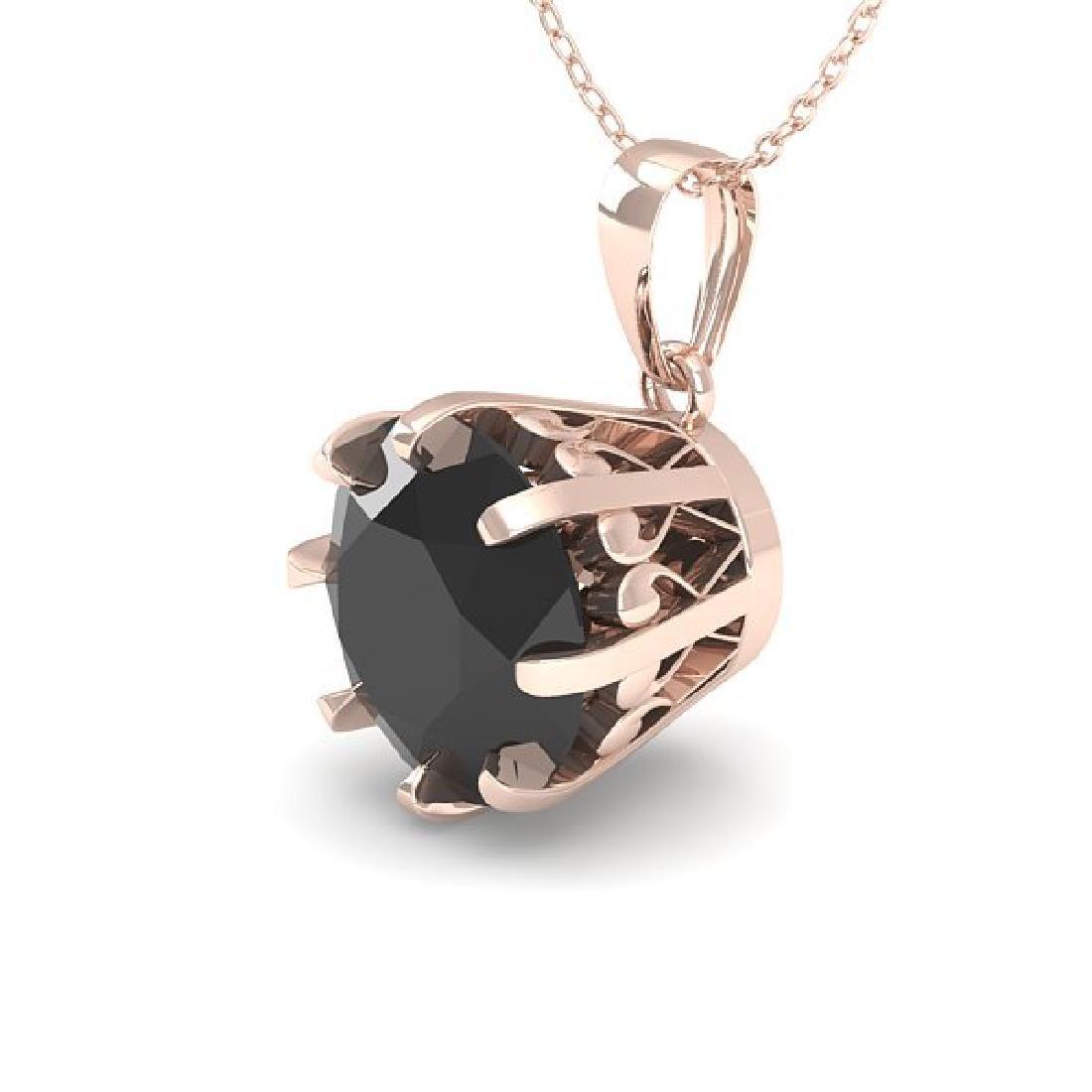 1 CTW Black Certified Diamond Solitaire Necklace 14K