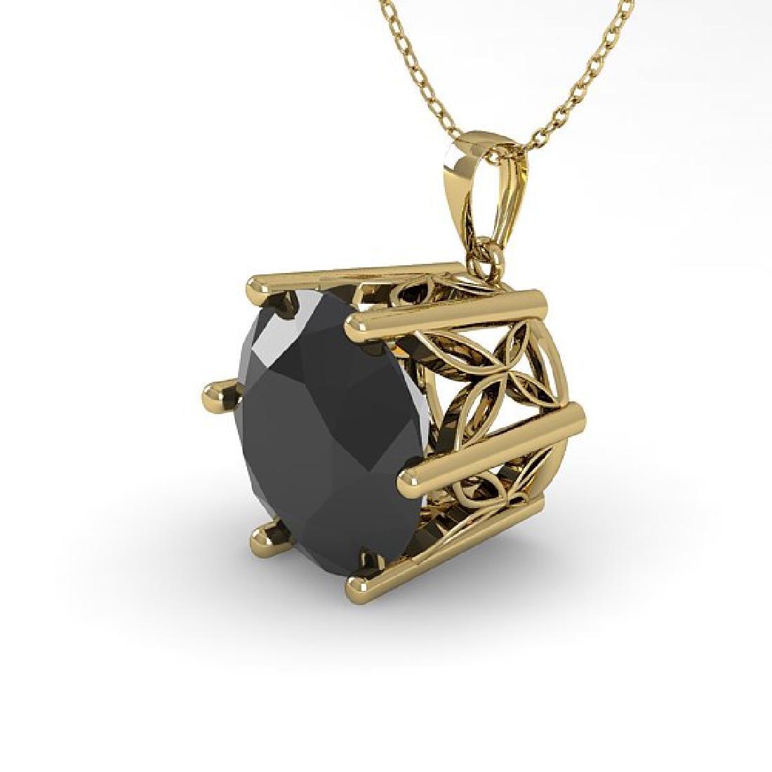 2 CTW Black Diamond Art Deco Necklace 14K Yellow Gold