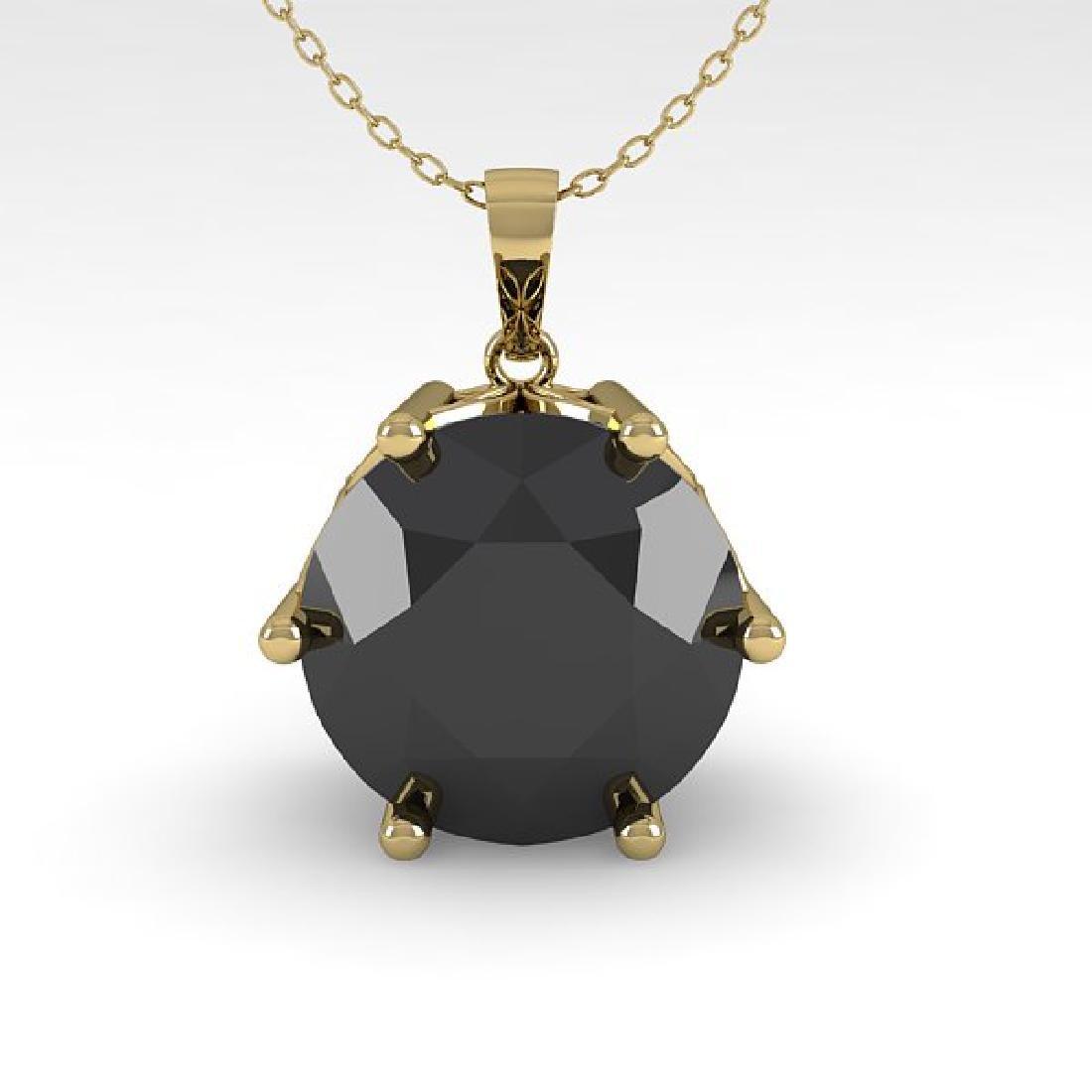2 CTW Black Diamond Art Deco Necklace 14K Yellow Gold - 2
