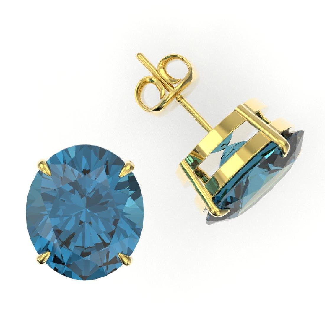 18 CTW London Blue Topaz Designer Solitaire Stud - 2