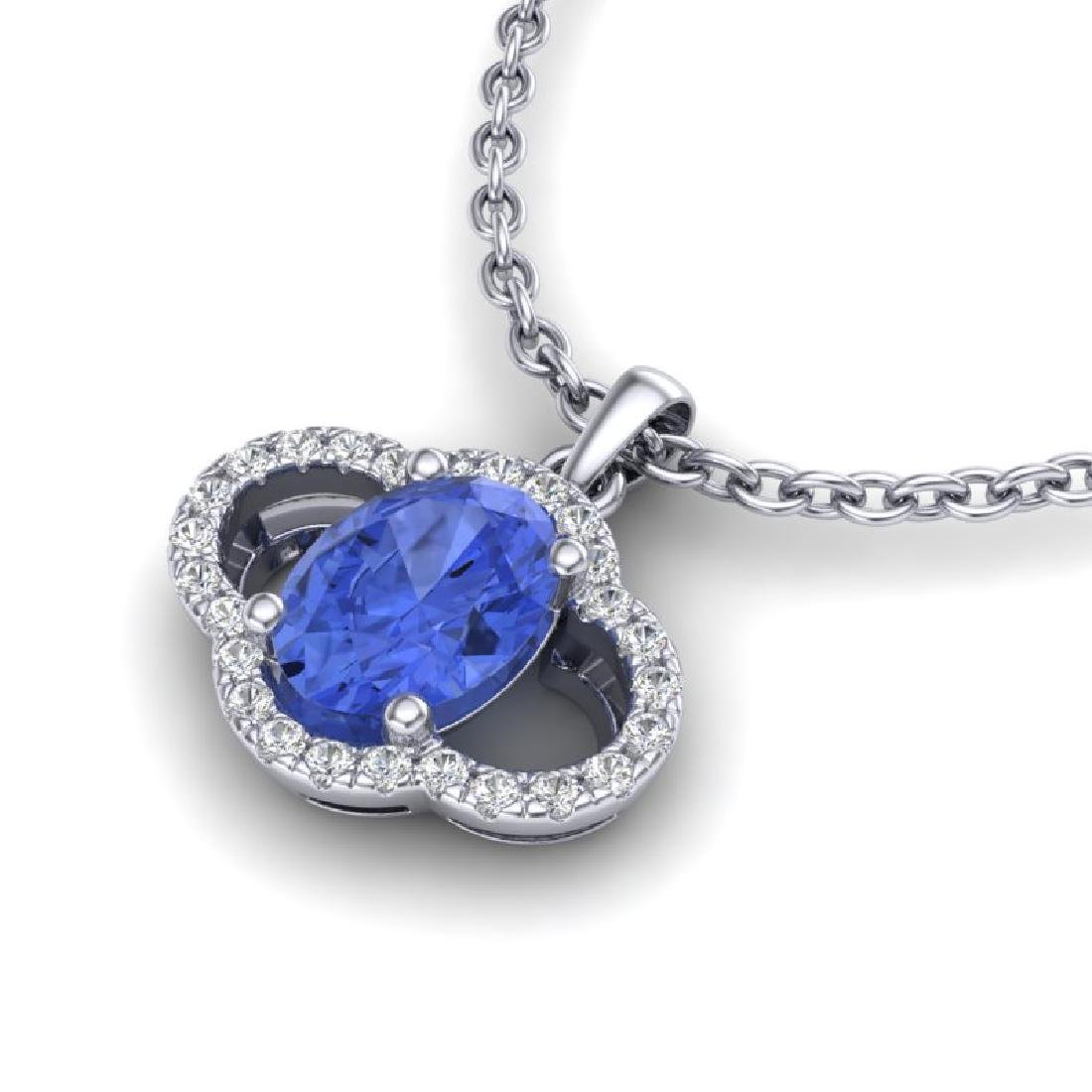 1.75 CTW Tanzanite & Micro Pave VS/SI Diamond Necklace - 2