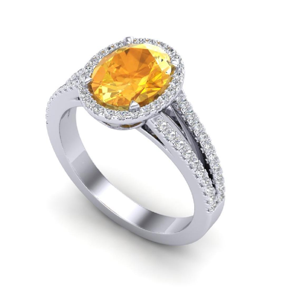 3 CTW Citrine & Micro VS/SI Diamond Halo Solitaire Ring - 2
