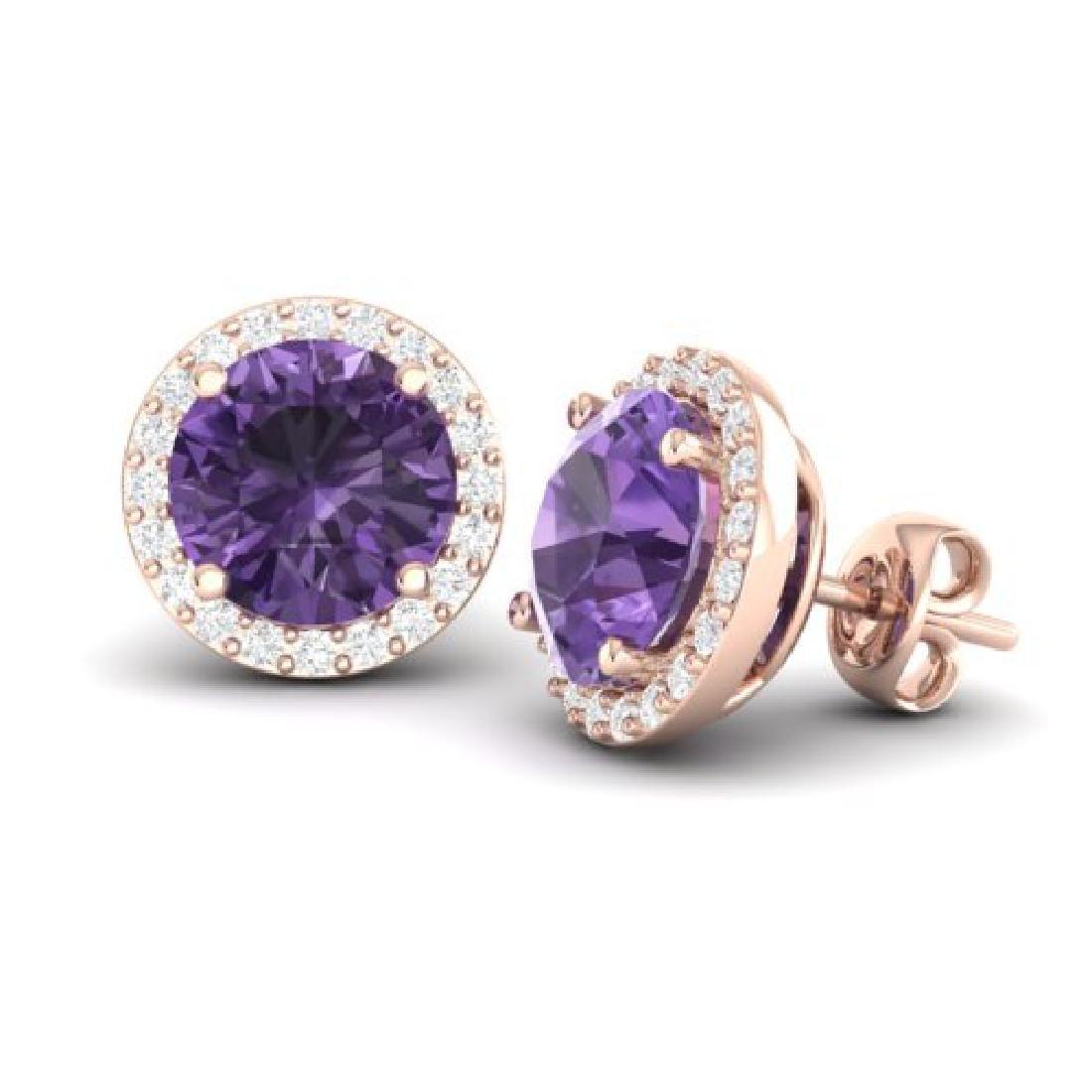 4 CTW Amethyst & Halo VS/SI Diamond Micro Pave Earrings - 2