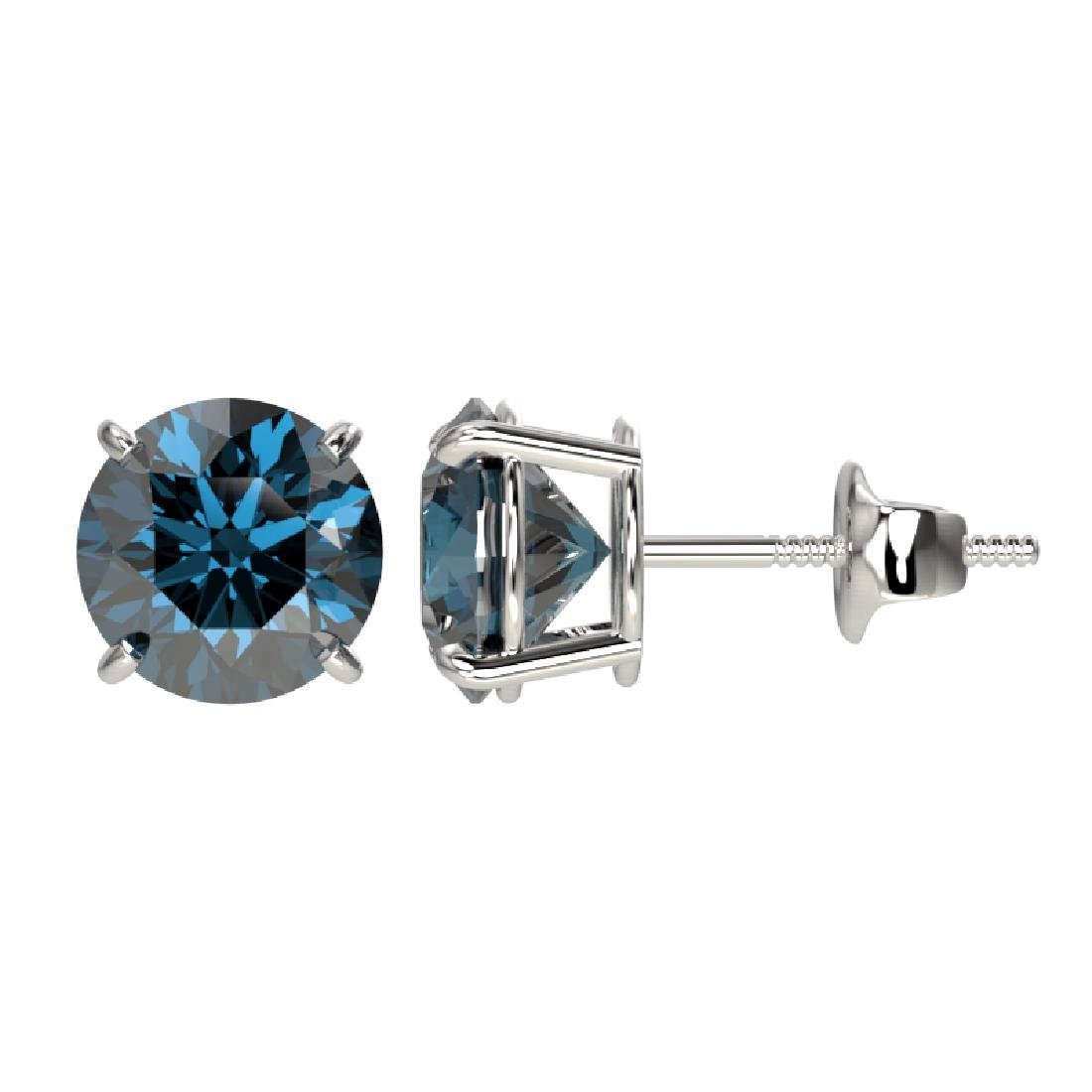 2 CTW Certified Intense Blue SI Diamond Solitaire Stud - 2