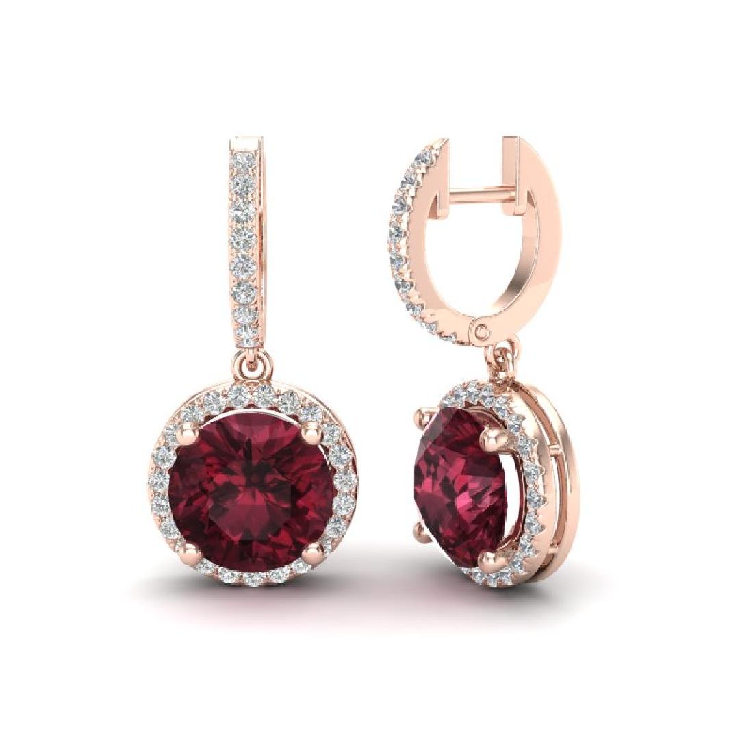 5.50 CTW Garnet & Micro Pave VS/SI Diamond Halo 14K - 2