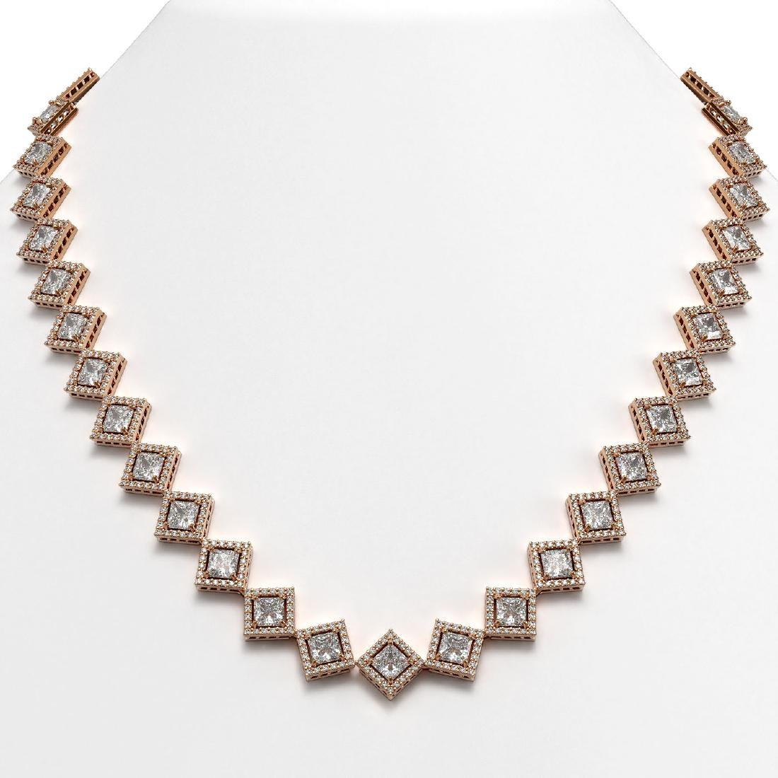 26.88 CTW Princess Cut Diamond Designer Necklace 18K